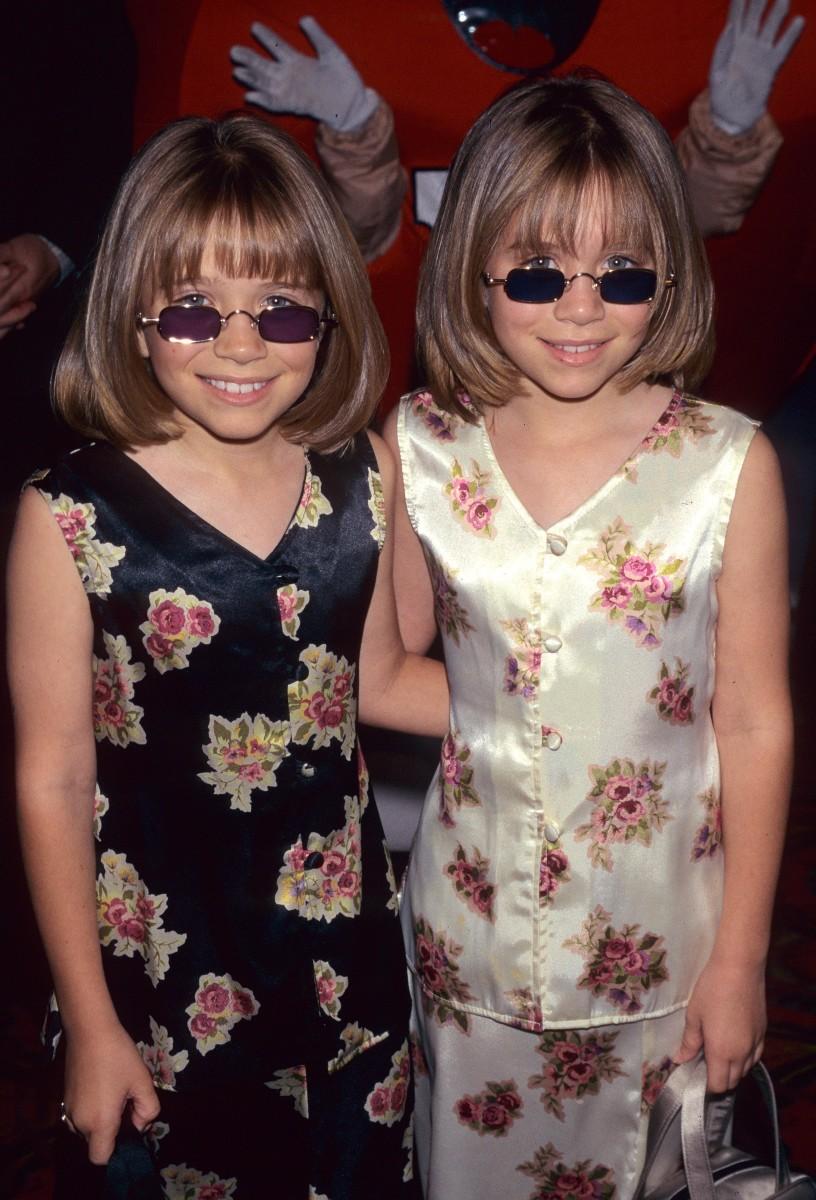 Mary-Kate Olsen and Ashley Olsen at the Audrey Hepburn for Children Family Film Festival in 1997.