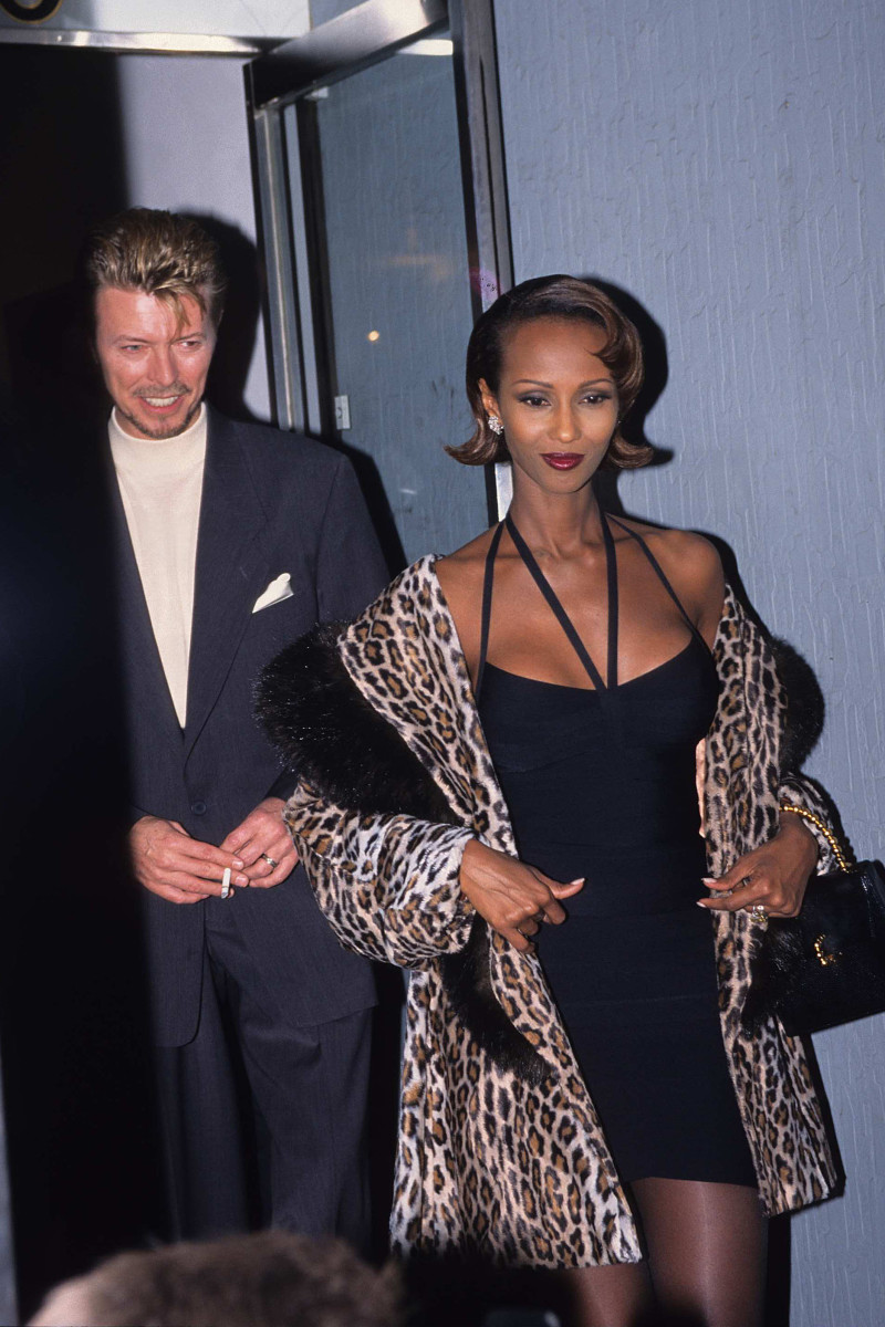 David Bowie and Iman during the Cork Street Art Exhibition of David Bowie's Work at Cork Street in London.