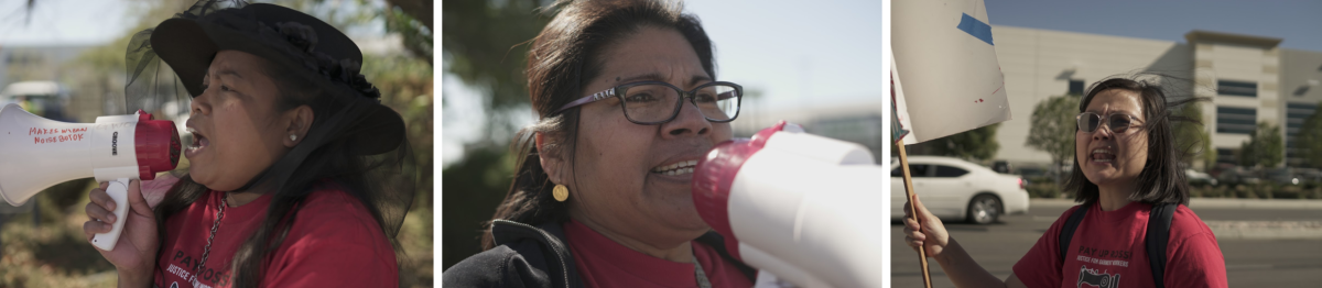 Garment worker leaders Yeni Dewi, Mariebelia Quiroz, and GWC organizer Annie Shaw protesting outside a Ross distribution center in Perris, California in November 2019.