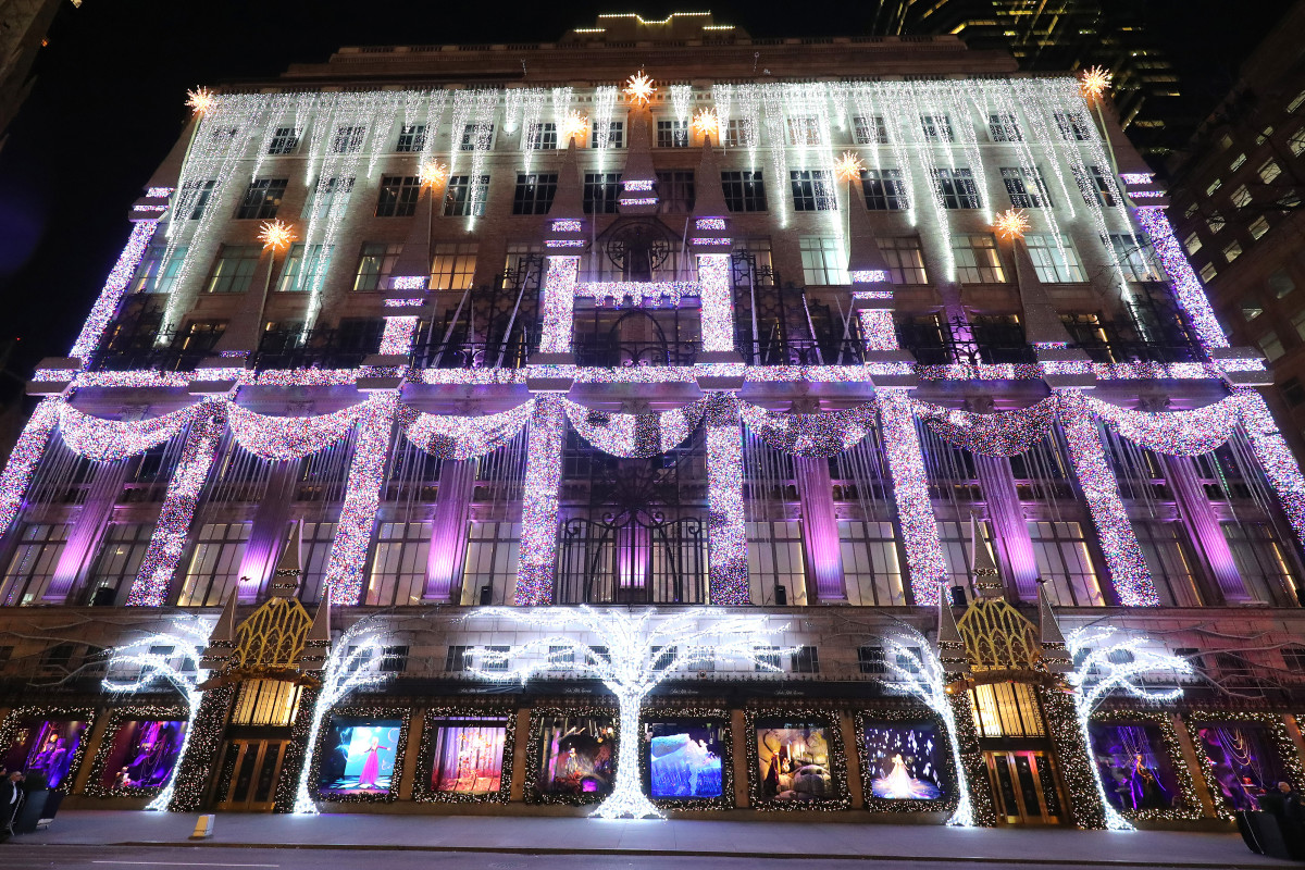 Saks Fifth Avenue's 2019 holiday decorations, which were 'Frozen 2'-themed.