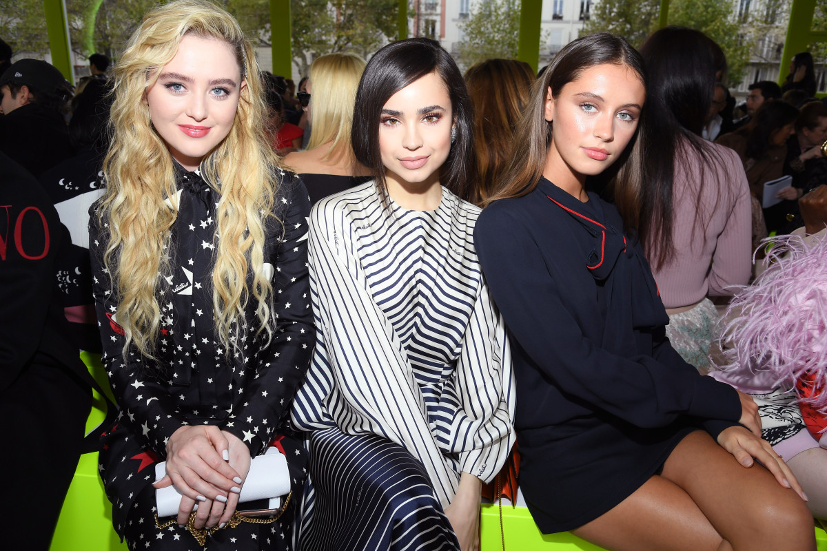 (L–R): Newton, Sofia Carson and Iris Law front row at the Valentino Spring 2020 show duringParis Fashion Weekin September 2019.