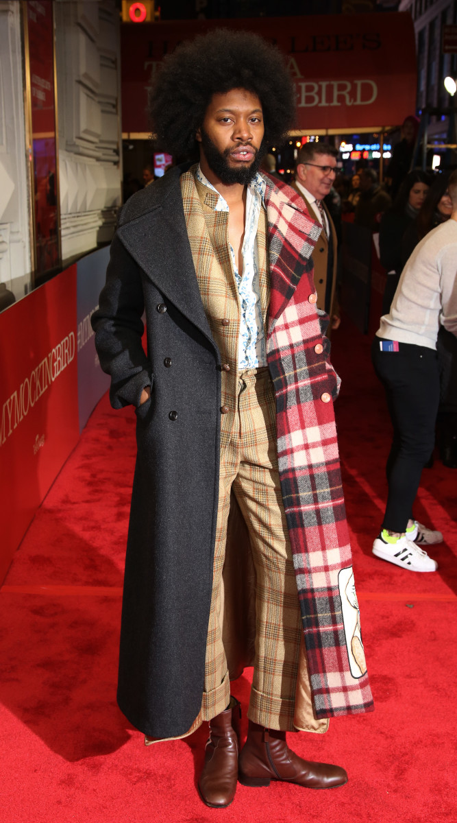 """Jeremy O. Harris in Gucci at the opening night performance of """"To Kill A Mockingbird"""" on Broadway in 2018."""
