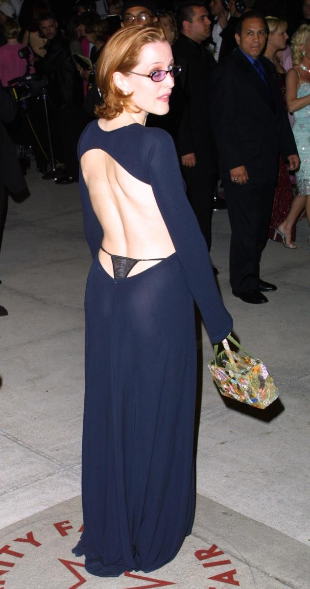 Gillian Anderson at the Vanity Fair Oscars party in 2001.