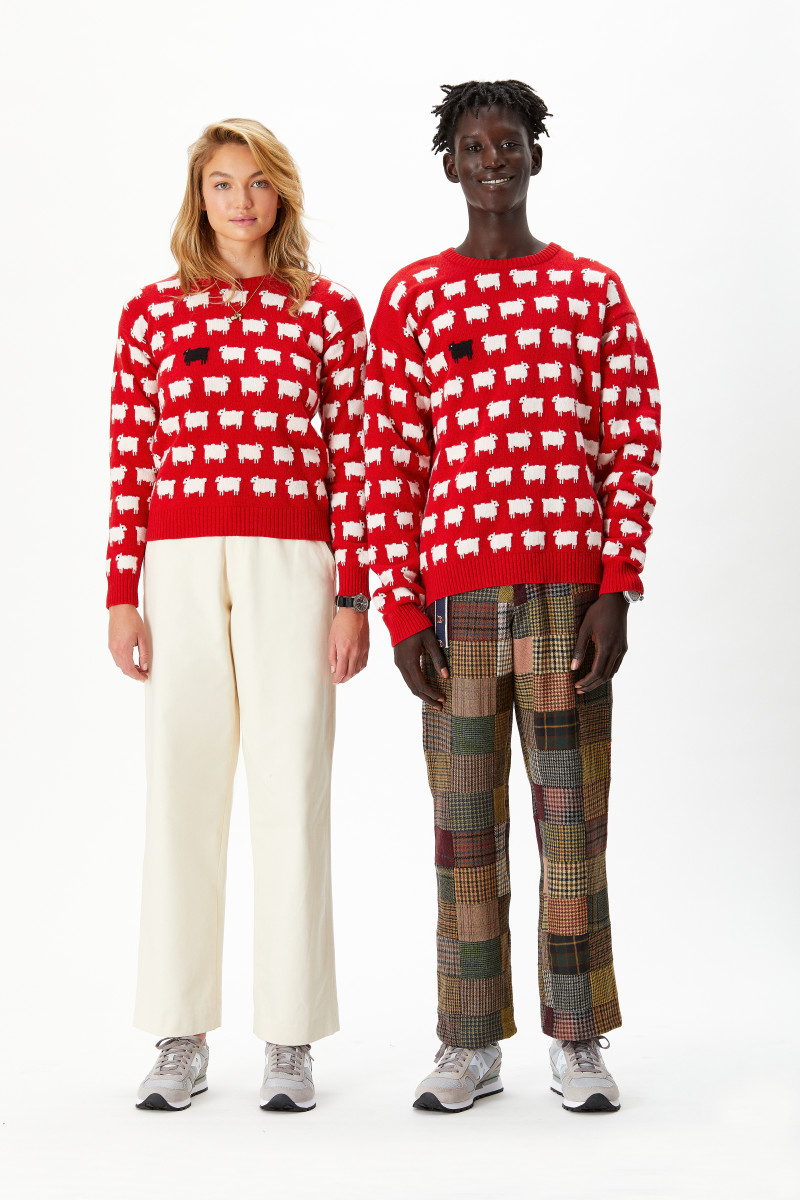 The reissue of the Warm & Wonderful sheep sweater, in collaboration with Rowing Blazers.