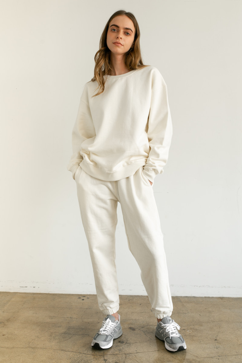 Almina Concept's Boyfriend Sweatshirt, $98, and High-Waist Sweatpants, $78, available as part of its Fall 2020 collection.