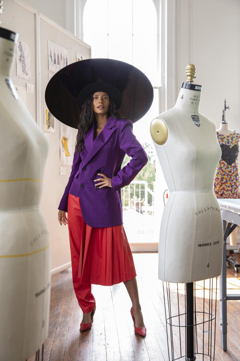 Emanuela de Paula in a look by Xinyi Xie