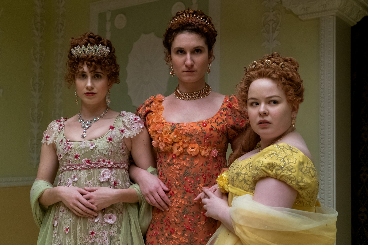 The Featherington sisters: Phillipa, Prudence and Penelope, in her signature color.