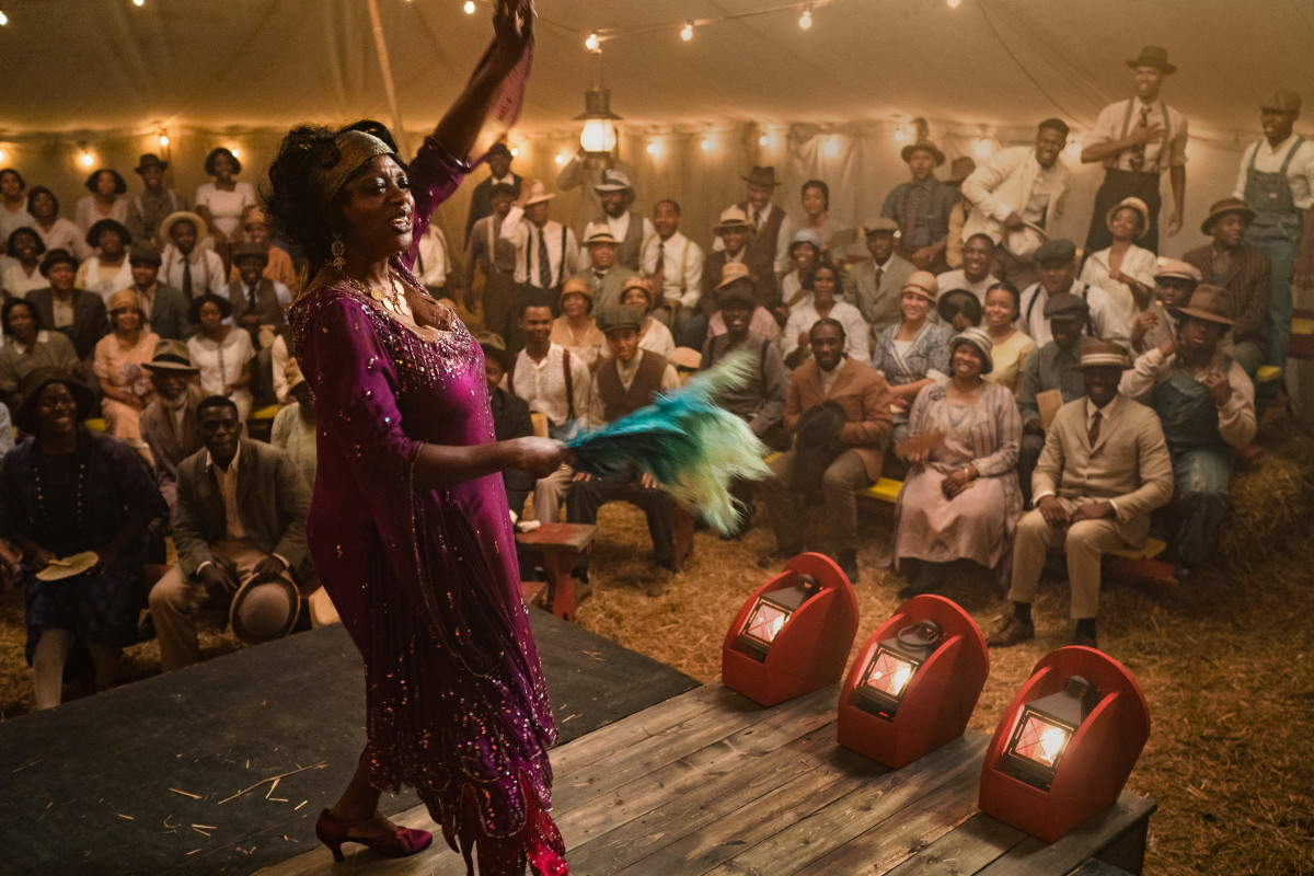 Ma Rainey (Viola Davis) performing in one of her famously packed tent concerts.