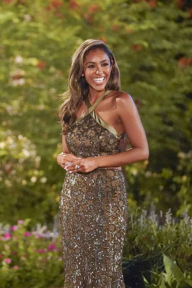 "Tayshia Adams, ready to meet the contestants on *her* first night as ""The Bachelorette"" — wearing Randi Rahm of course."