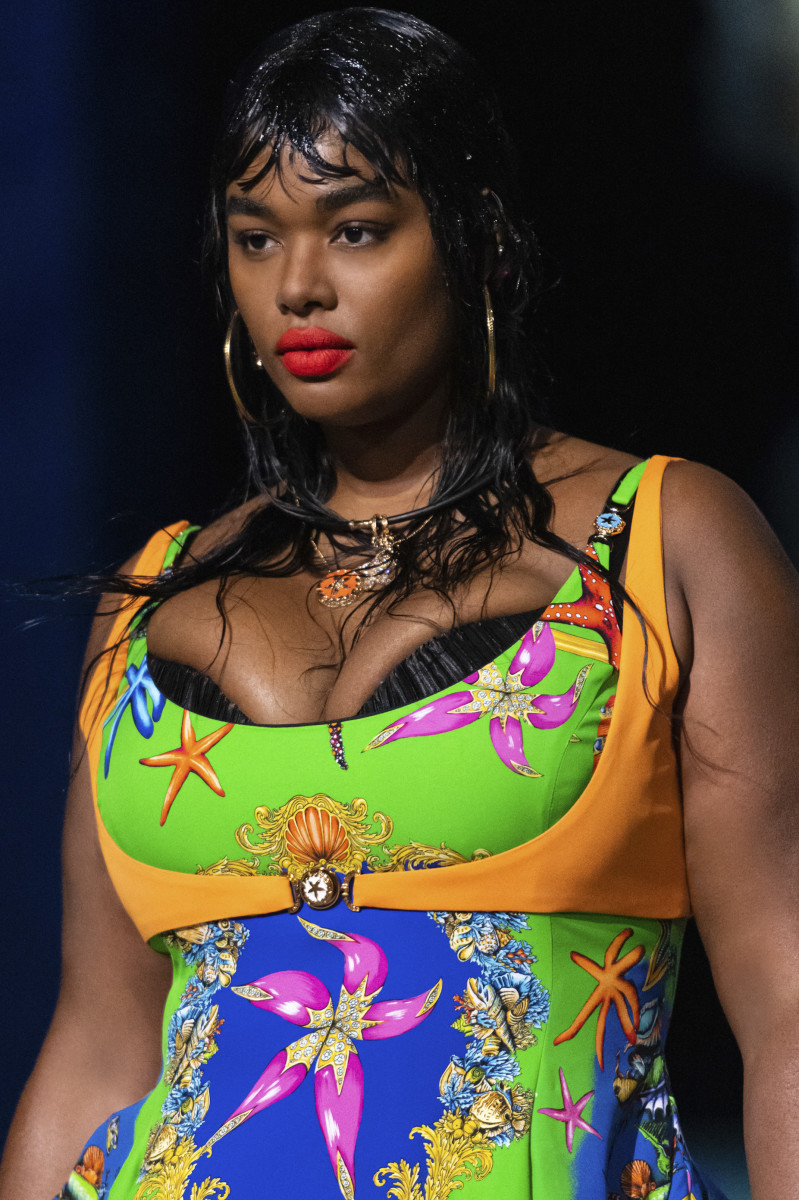 Precious Lee on Versace's Spring 2021 runway during Milan Fashion Week in September 2020.