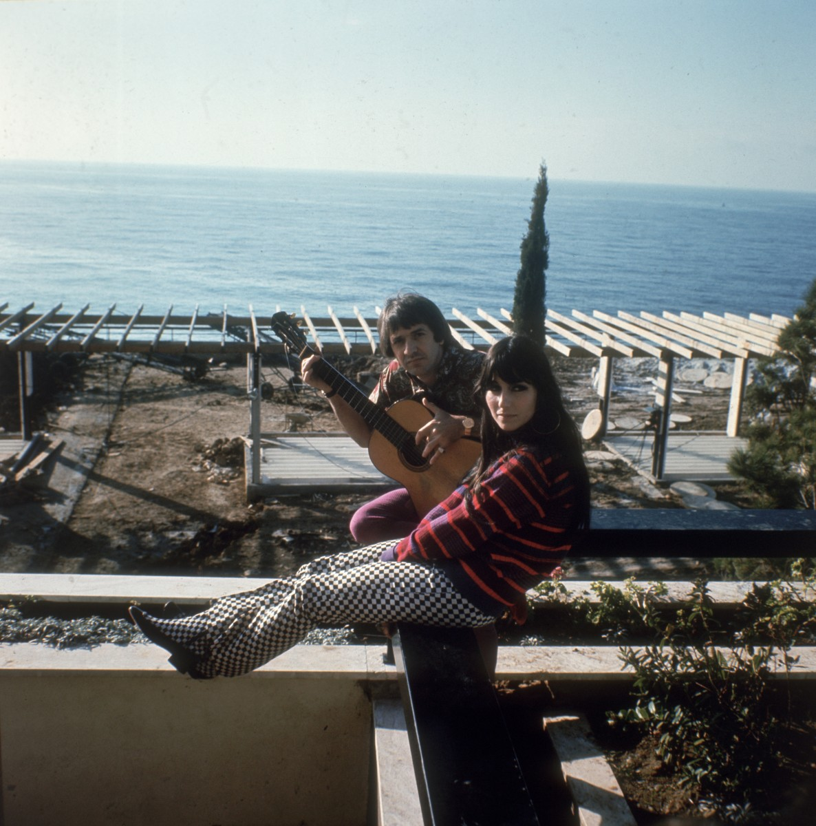 Sonny and Cher at their home in California in 1966.