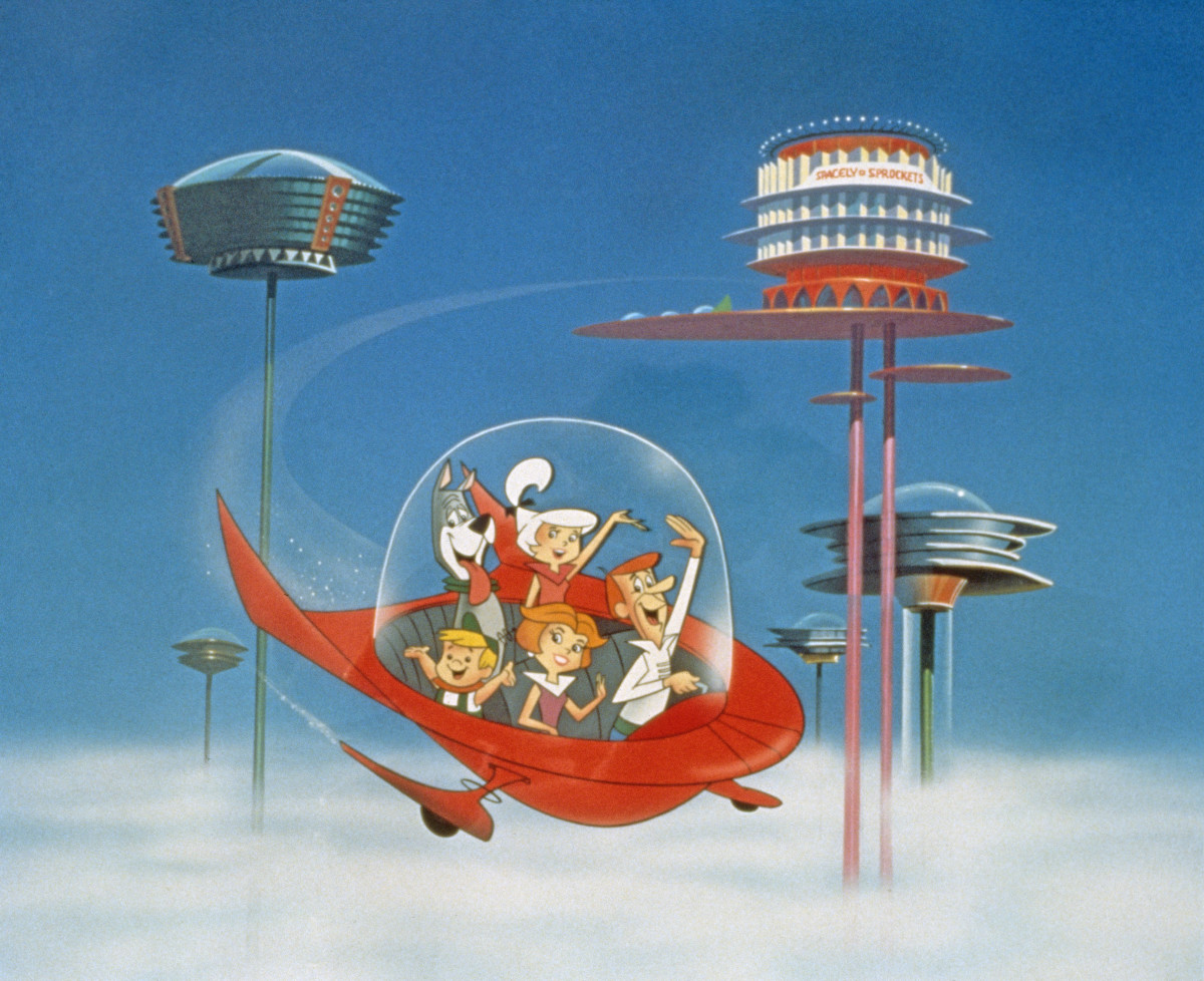 """The Jetson family wave as they fly past neighbors in their spaceship in a still from """"The Jetsons,"""" circa 1962."""