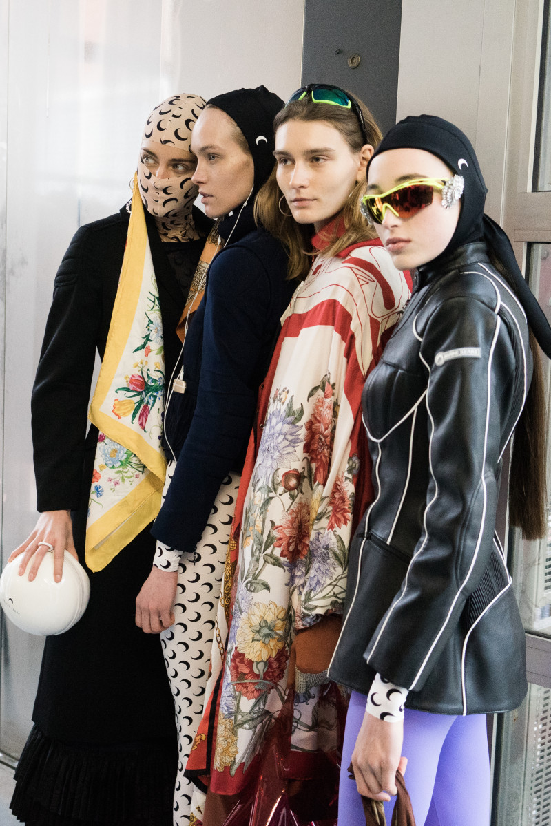 Models backstage before Marine Serre's Fall 2018 runway show at Paris Fashion Week.