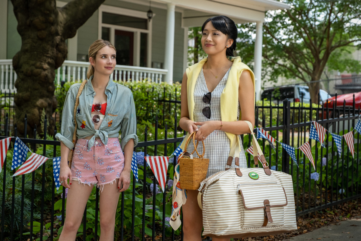 Emma Roberts as Sloane and Cynthy Wu as Liz in 'Holidate,' costume designed by Helen Huang.