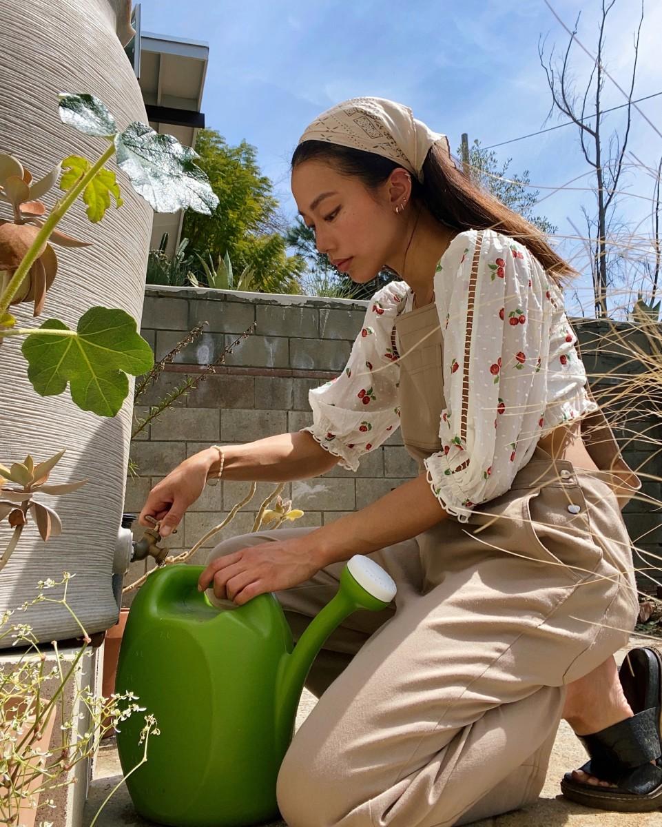 Jenny Ong in her garden.