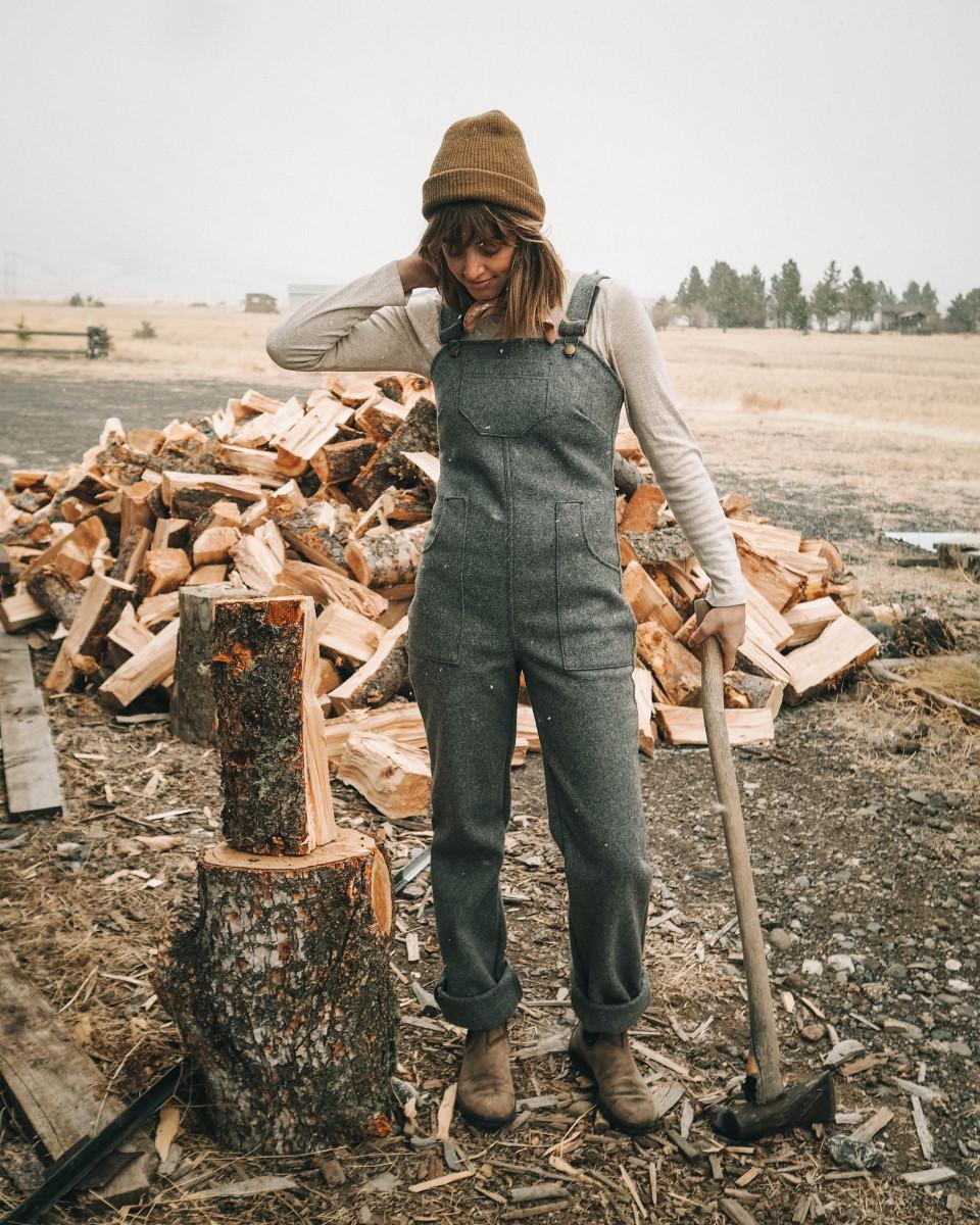 Kristi Reed chopping wood.