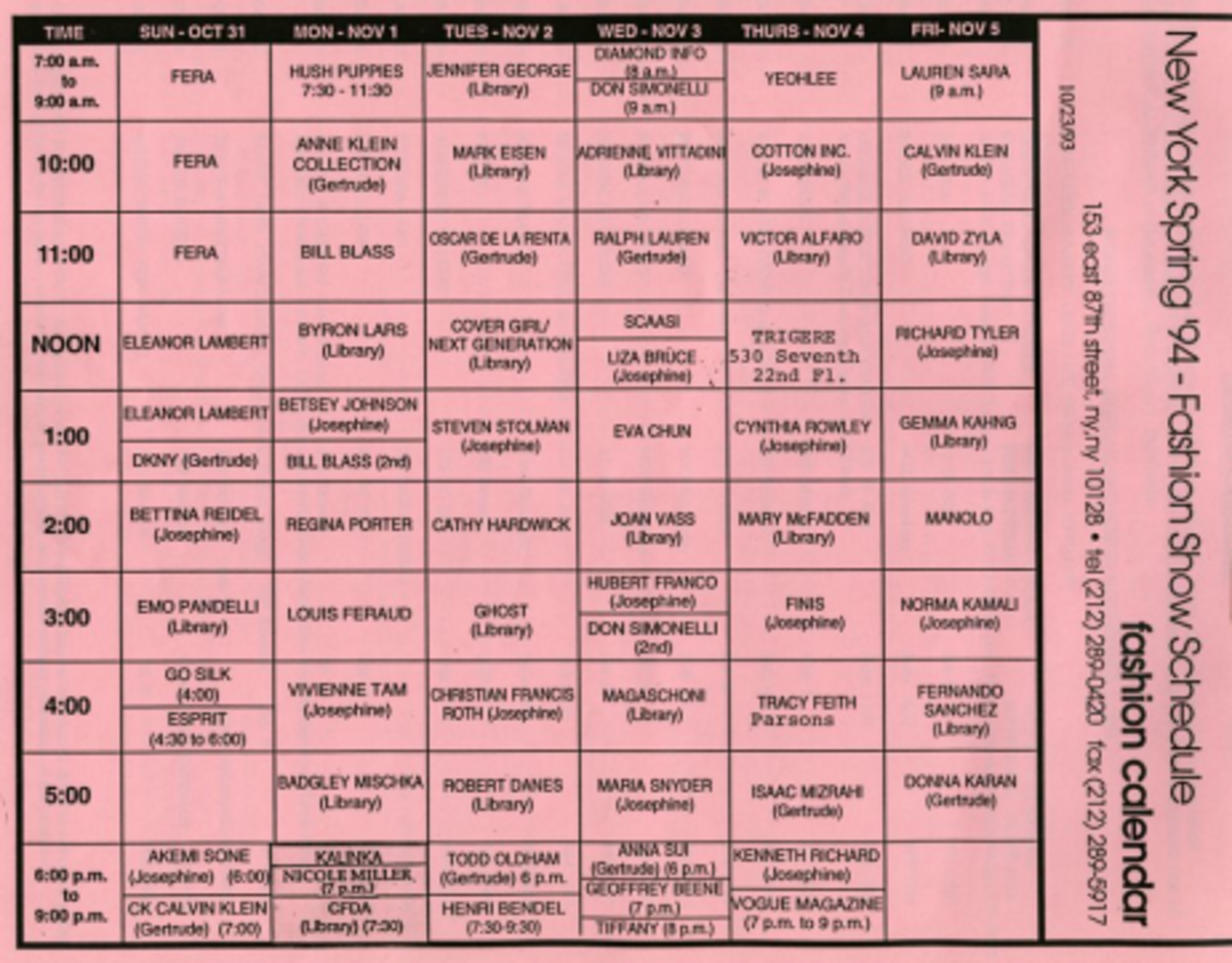 "The first official schedule grid for the CFDA's centralized fashion shows ""7th on Sixth"" New York Fashion Week held in tents at Bryant Park in midtown Manhattan, September 1993. Ruth Finley. Fashion Calendar, September 29, 1993, grid"