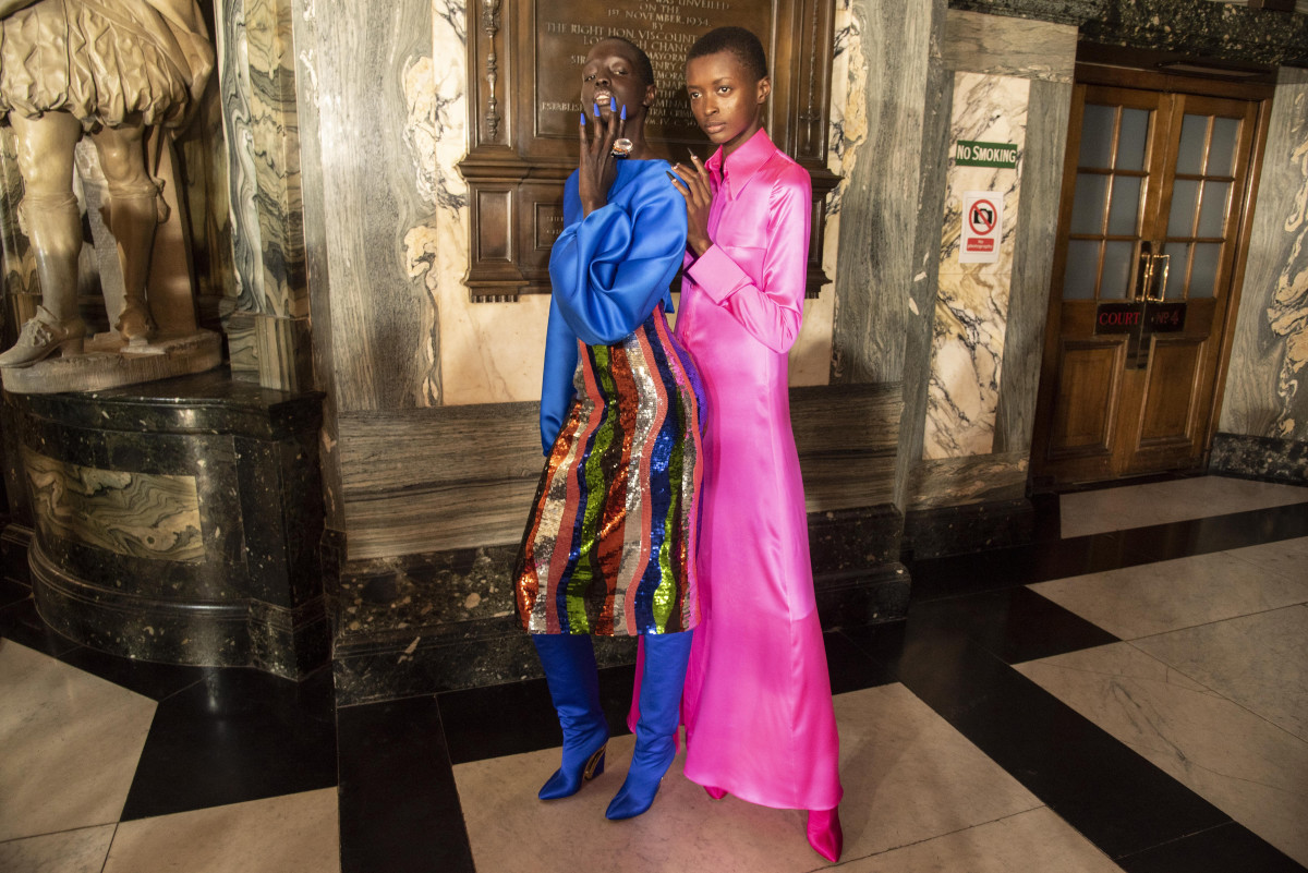 Models behind the scenes at Halpern's Fall 2020 show during London Fashion Week.