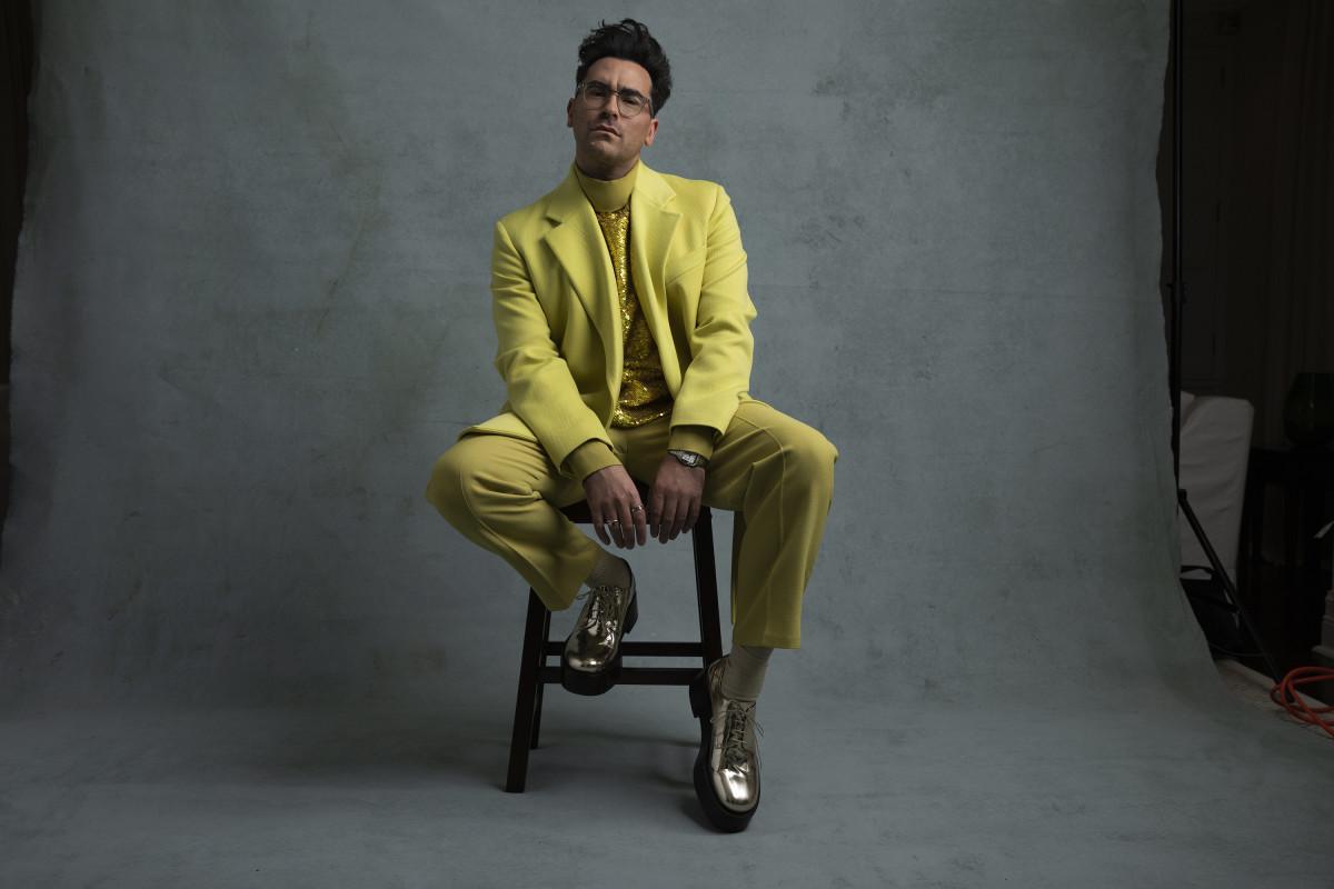 Dan Levy in Valentino Haute Couture.
