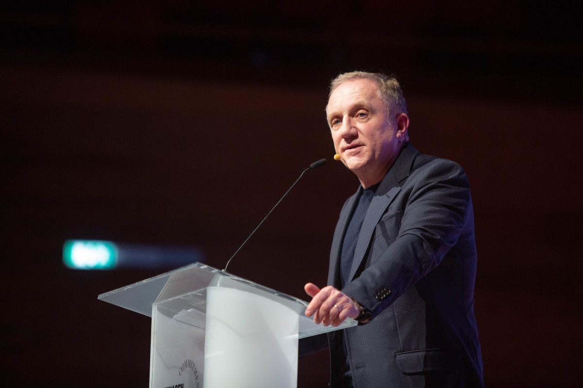 François-Henri Pinault, Chairman and CEO, Kering speaks on stage during Day One the Copenhagen Fashion Summit 2019