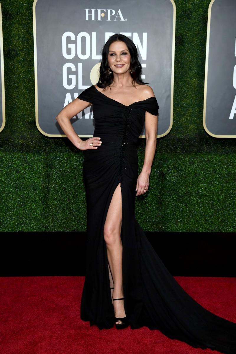 Catherine Zeta-Jones in Dolce & Gabbana at the 2021 Golden Globe Awards.
