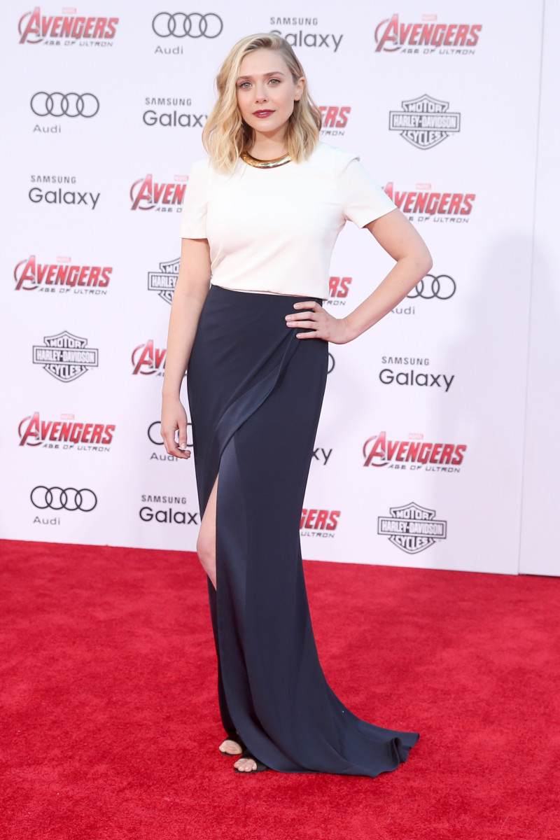 Actress Elizabeth Olsen attends the premiere of Marvel's Avengers Age Of Ultron