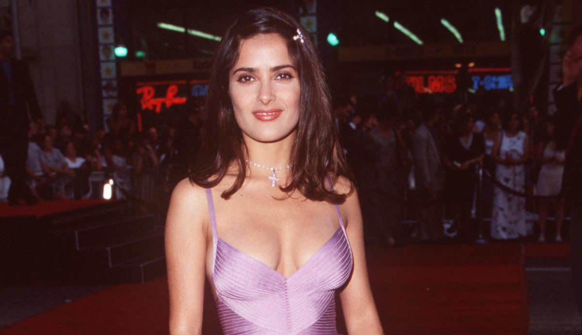 Great Outfits in Fashion History: Salma Hayek in Peak '90s Hervé Leger