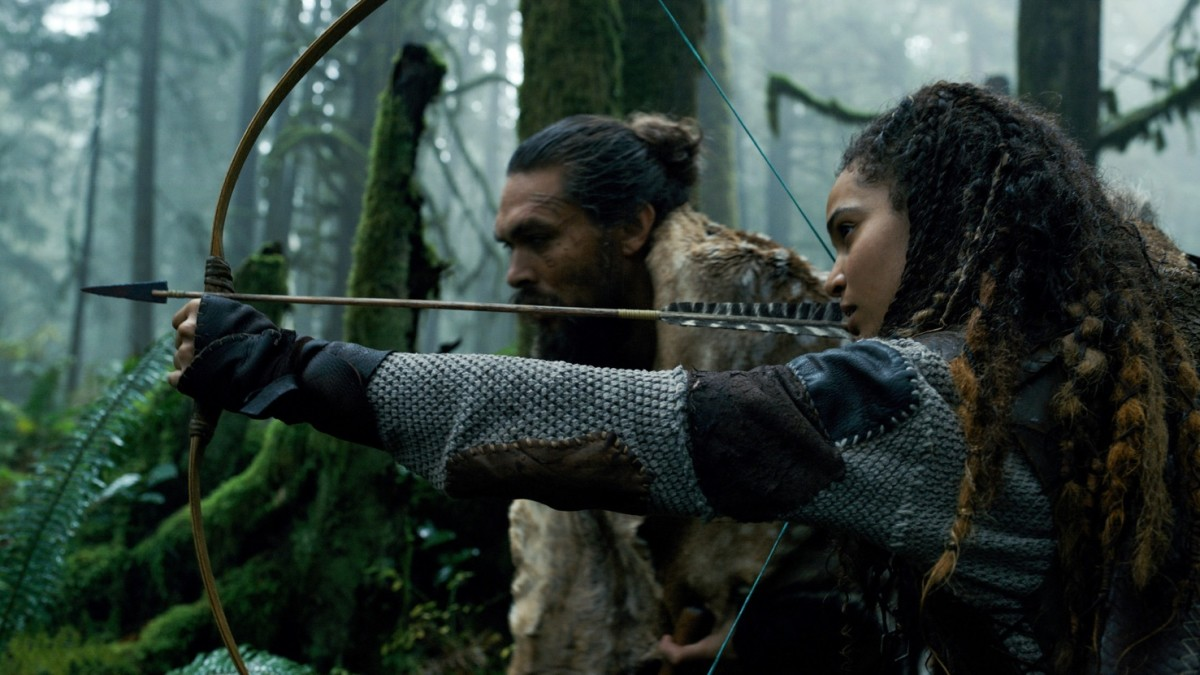 Jason Momoa and Nesta Cooper in season one of 'See,' costumes by Summerville.