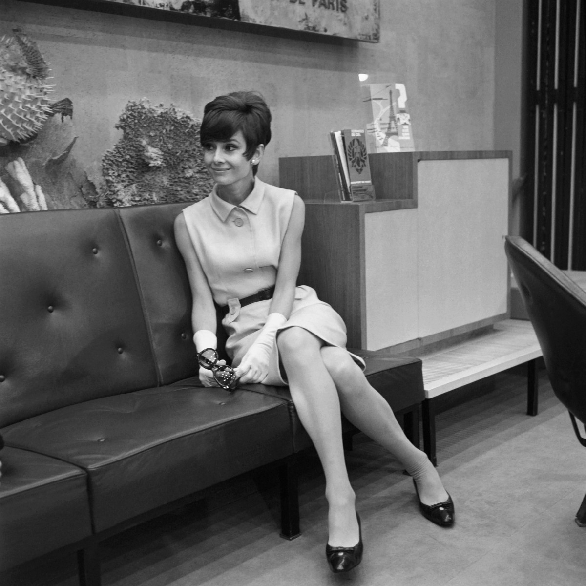 Audrey Hepburn in Givenchy at Orly Airport in 1965.
