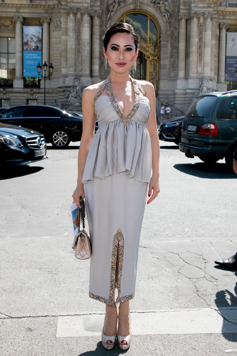 Chiu, wearing in her Chanel Haute Couture dress at the Fall 2017 haute couture shows in Paris.