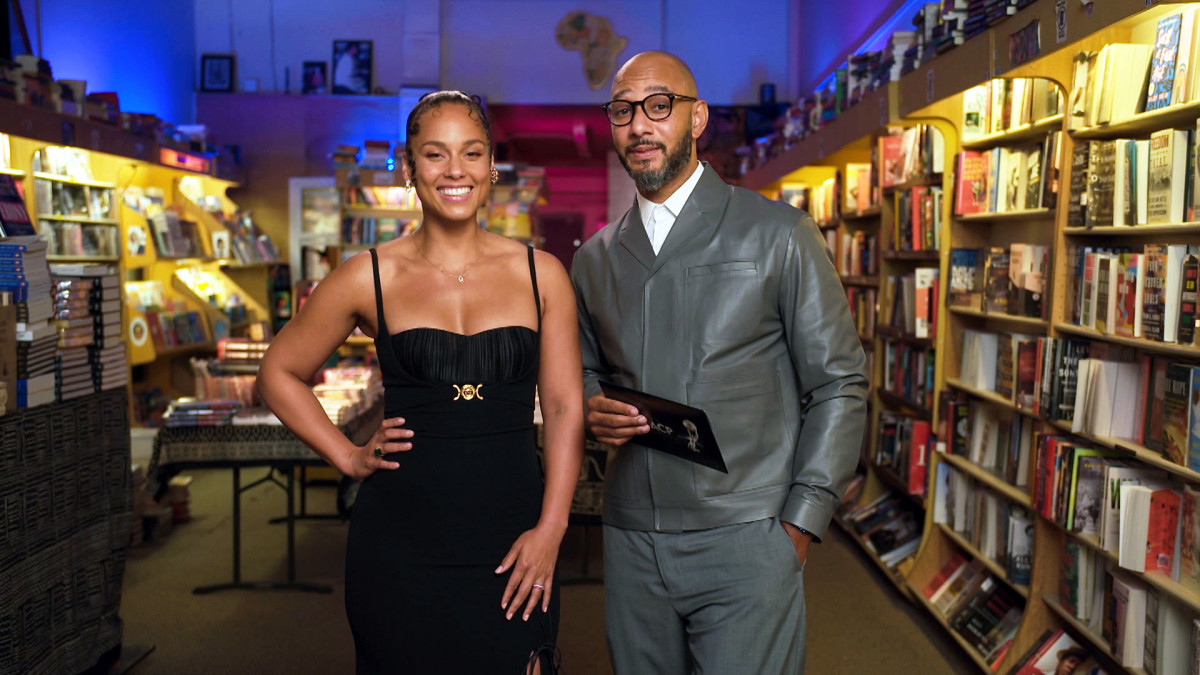 Alicia Keys and Swizz Beatz speak during the 52nd NAACP Image Awards