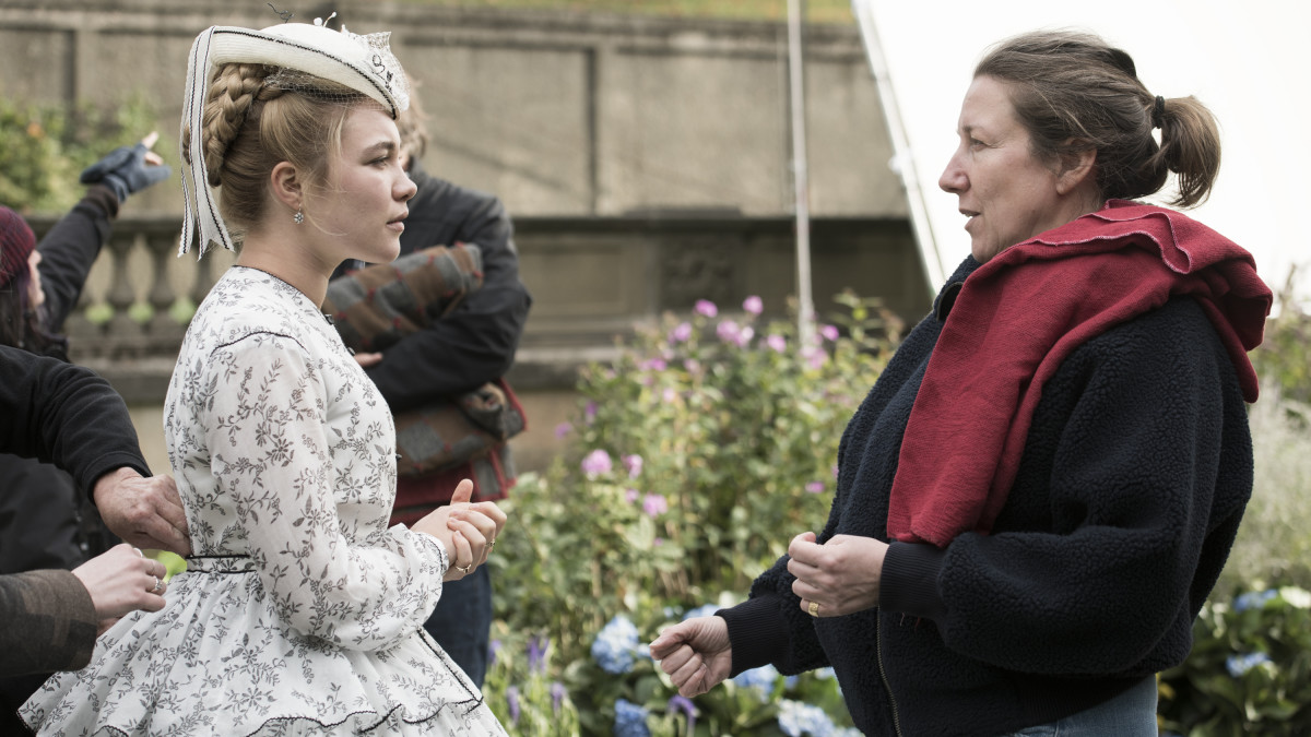 Florence Pugh and Durran on the 'Little Women' set.