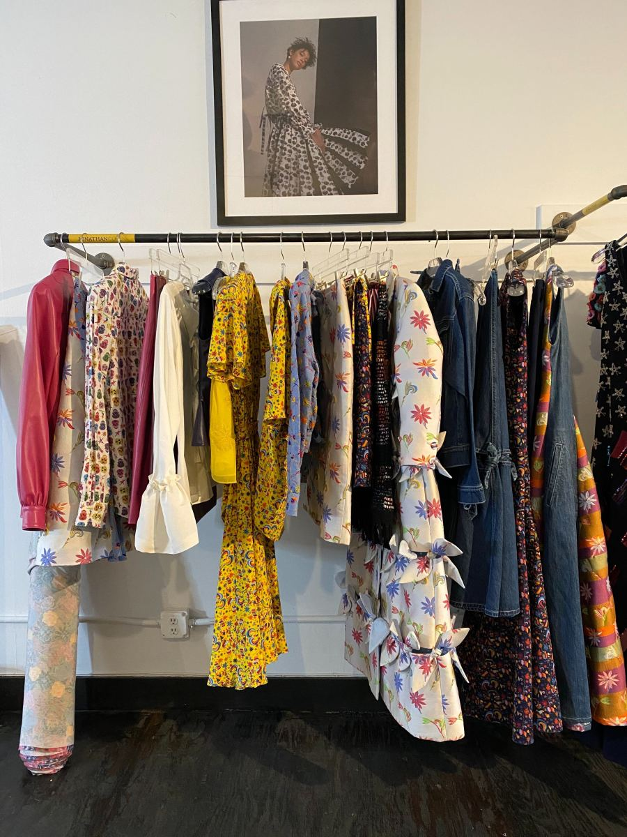 Pieces from Jonathan Cohen's Spring 2020 collection on display at his studio.
