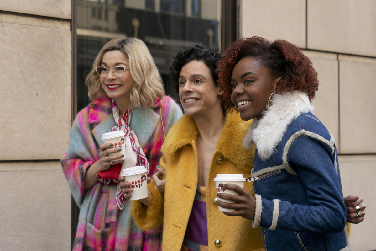 Pepper (Julia Chan), Jorge (Jonny Beauchamp) and Riverdale transplant Josie (Ashleigh Murray) outside Lacy's department store (as played by Bergdorf Goodman) in episode one.