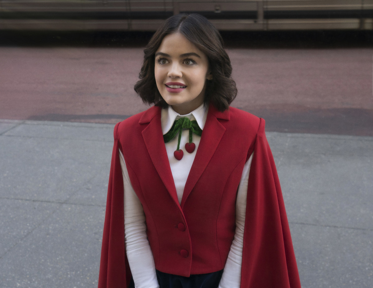 In the first episode, Katy (Lucy Hale) dresses for the job she wants.