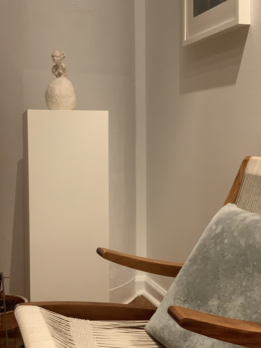 The serene corner that greets you upon entrance to Rojas's studio.