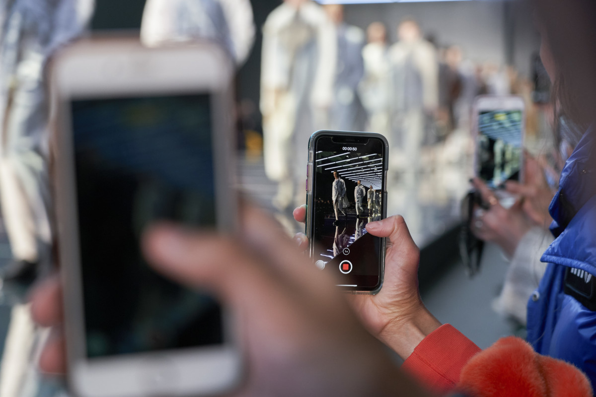 Phones out for the finale of Hugo Boss's Fall 2019 show during New York Fashion Week.