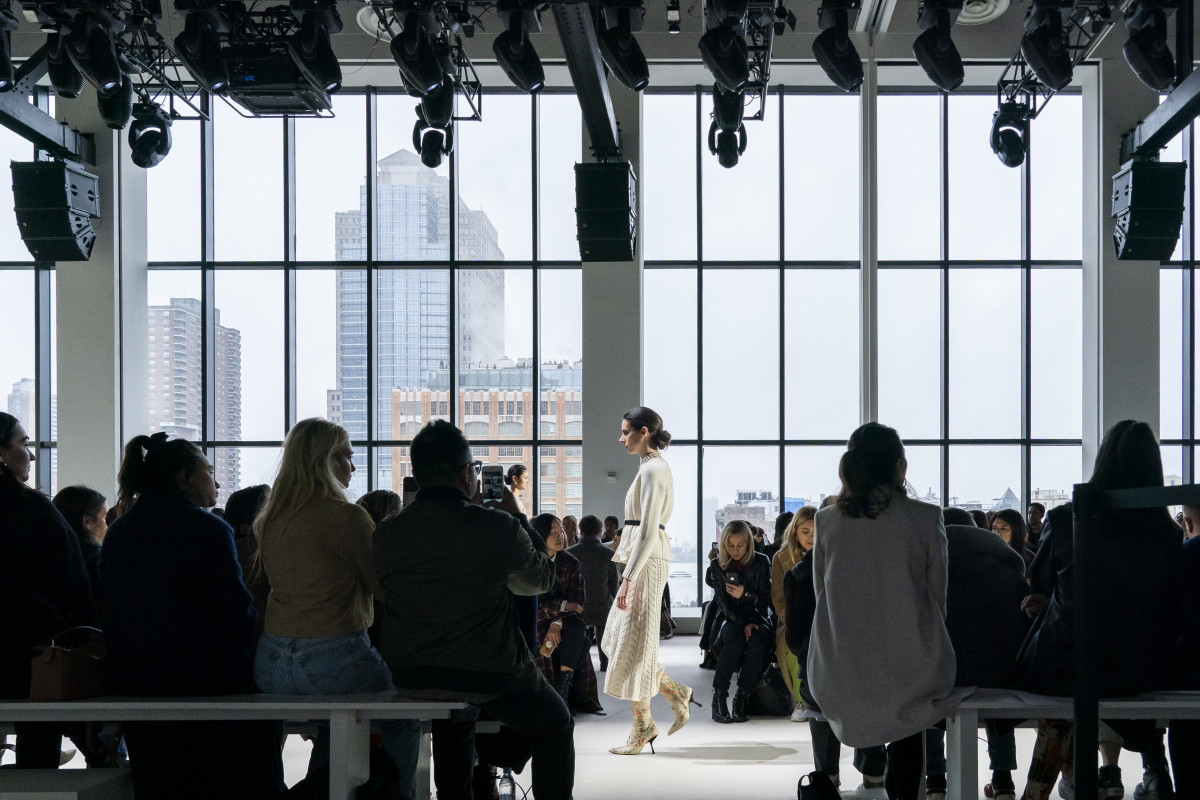 A model walking down the Brock Collection Fall 2019 runway during New York Fashion Week.