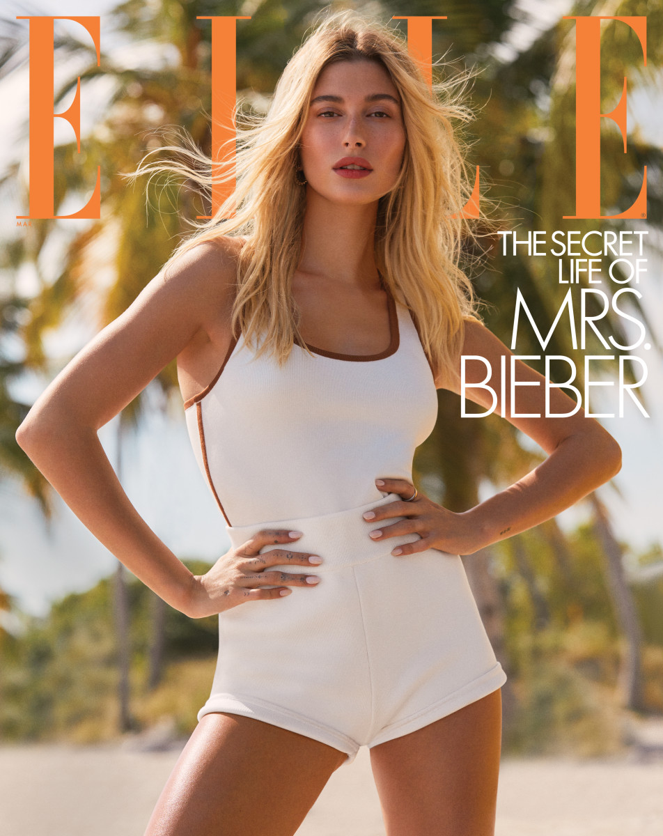 Hailey Bieber on the cover of Elle February 2020.