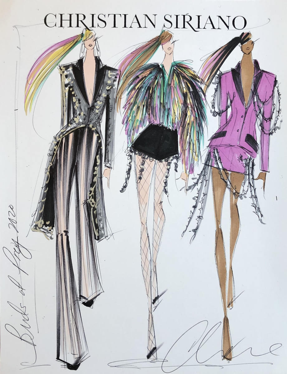 Sketches of the 'Birds of Prey'-inspired looks in Christian Siriano's Fall 2020 collection.