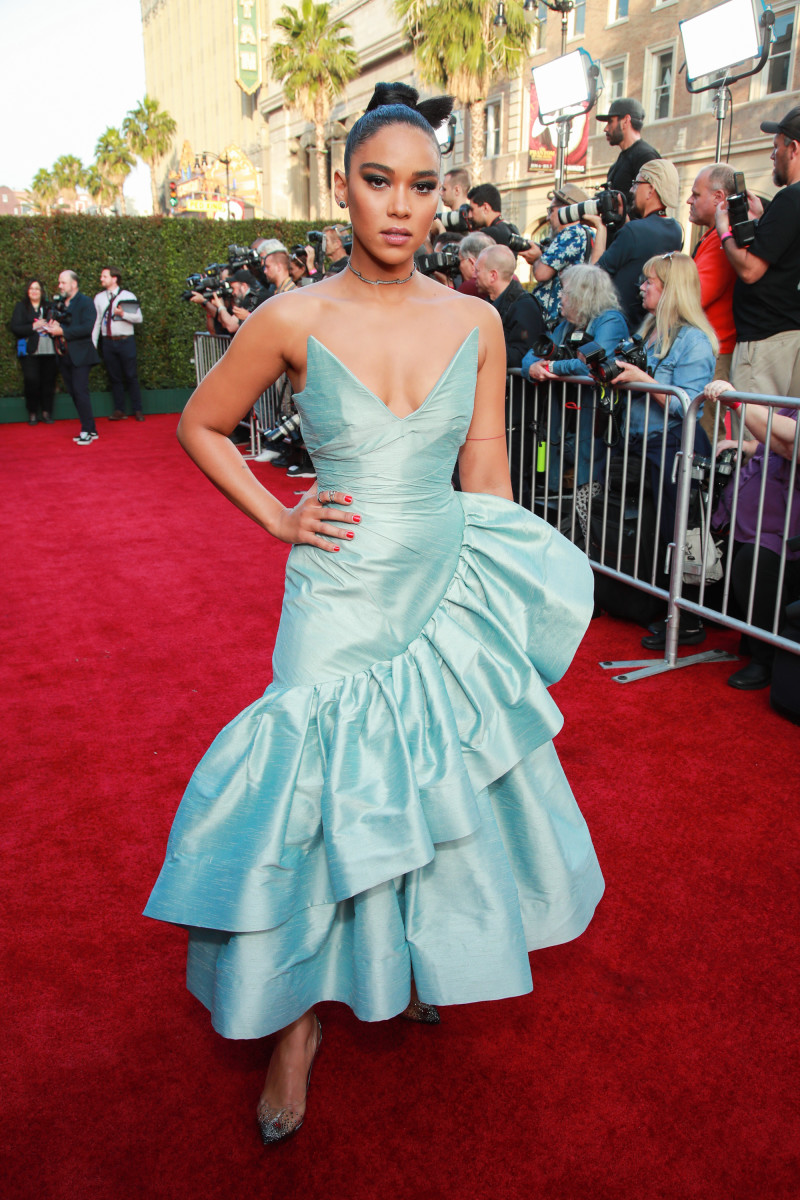 """Alexandra Shipp, styled byWayman and Micah, opted for a Christopher John Rogers gown for the """"Dark Phoenix"""" premiere last summer."""