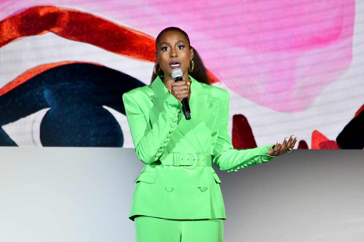 Styled by Jason Rembert, Issa Rae's wardrobe to host the 2018 CFDA Awards was filled with pieces made by Black designers — including this Sergio Hudson suit.