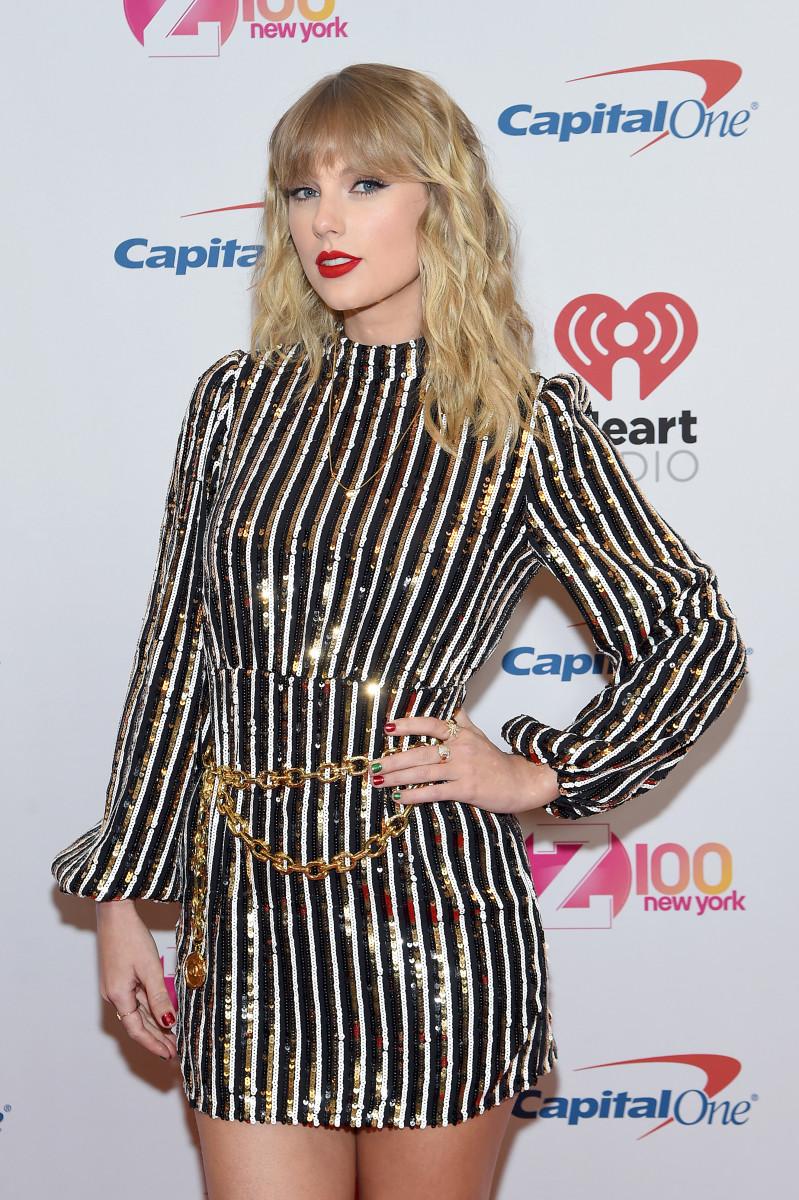 Taylor Swift in Rixo at iHeartRadio's Z100 Jingle Ball in December 2019.
