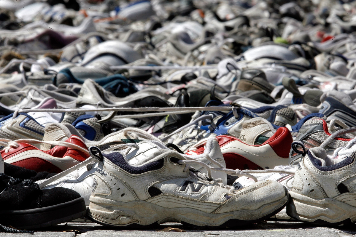 Shoes destined for recycling via Nike's Reuse-a-Shoe program.
