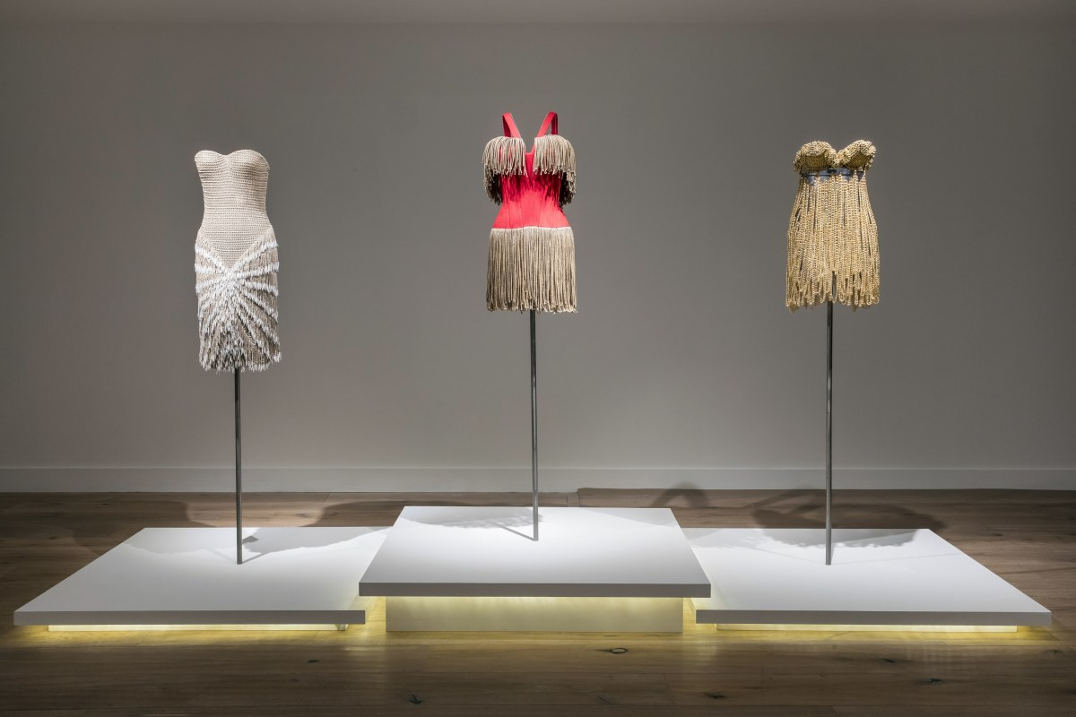 (From L-R): Alaïa dresses from Summer 1990, Summer 1988 and the Tina Turner dress from Summer 1989 in 'Alaïa-Adrian: Masters of Cut.'