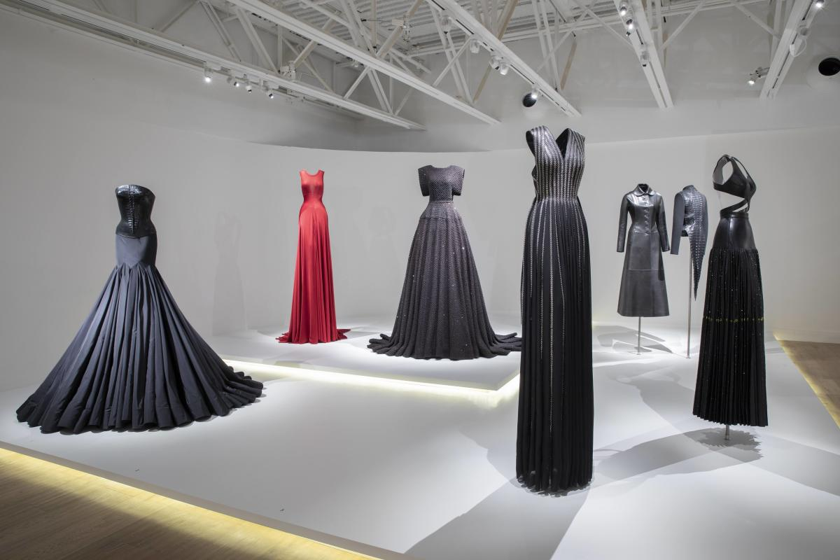 Alaïa gowns on display, including the one which inspired Lady Gaga's 2015 Oscars dress (third from left).