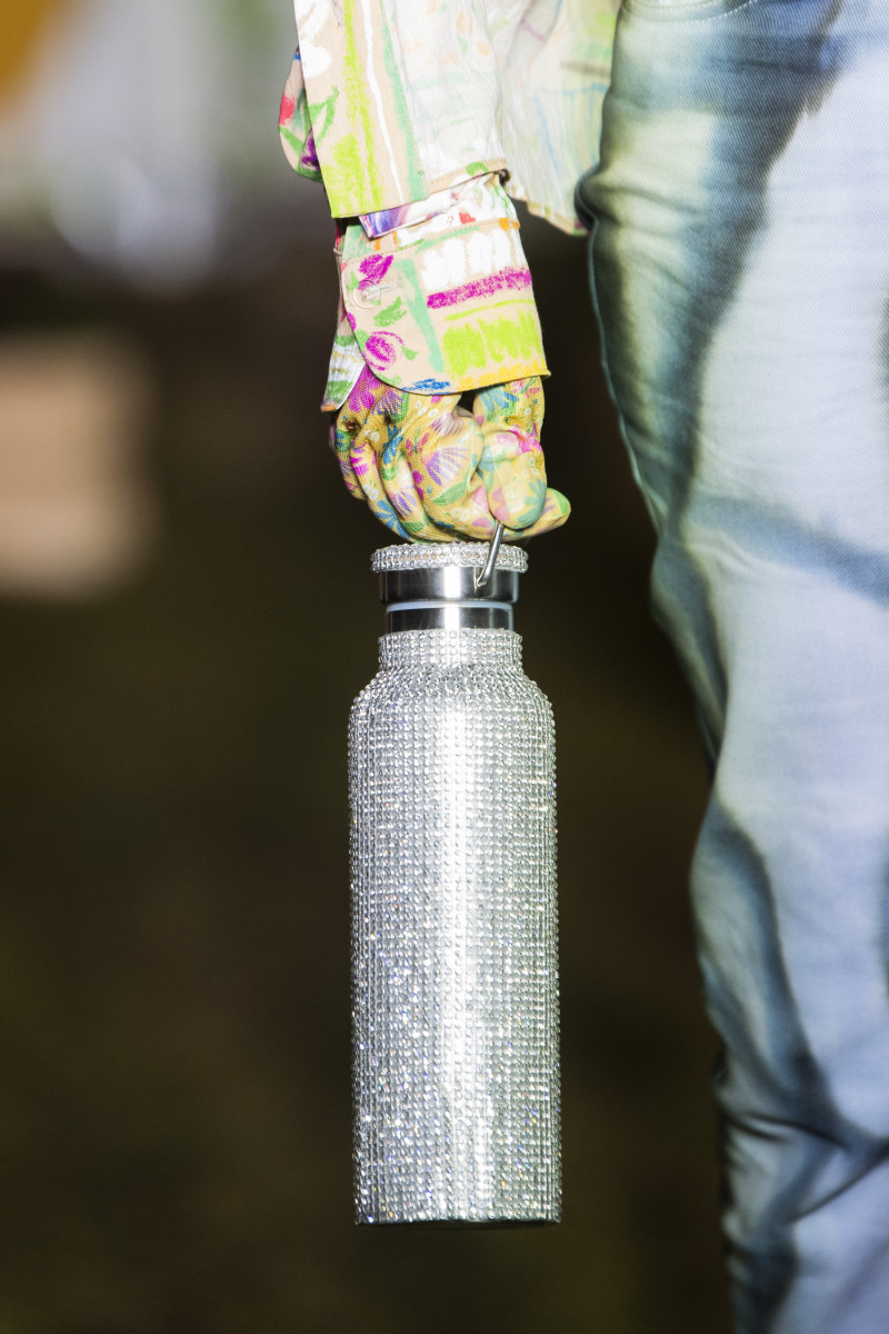 Collina Strada's Rhinestone Water Bottle, available for $90, as shown in the brand's Fall 2020 runway show during New York Fashion Week.