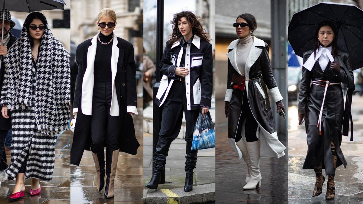 Na rua, na London Fashion Week, outono de 2020.