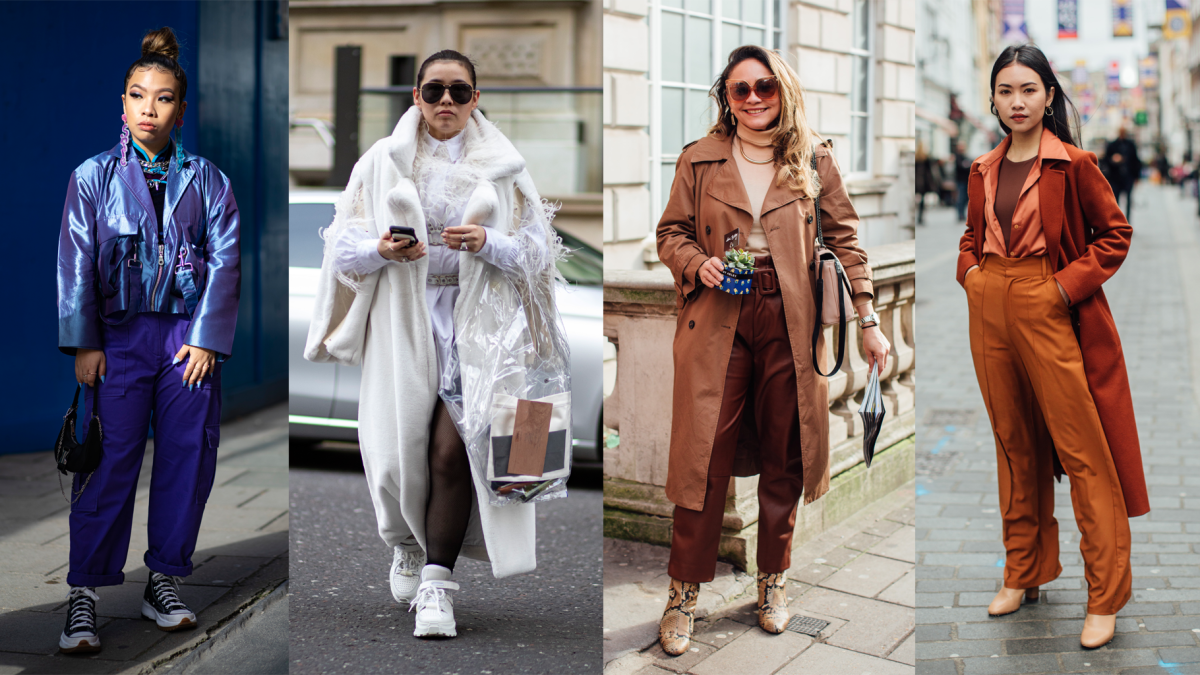 On the street at London Fashion Week Fall 2020.