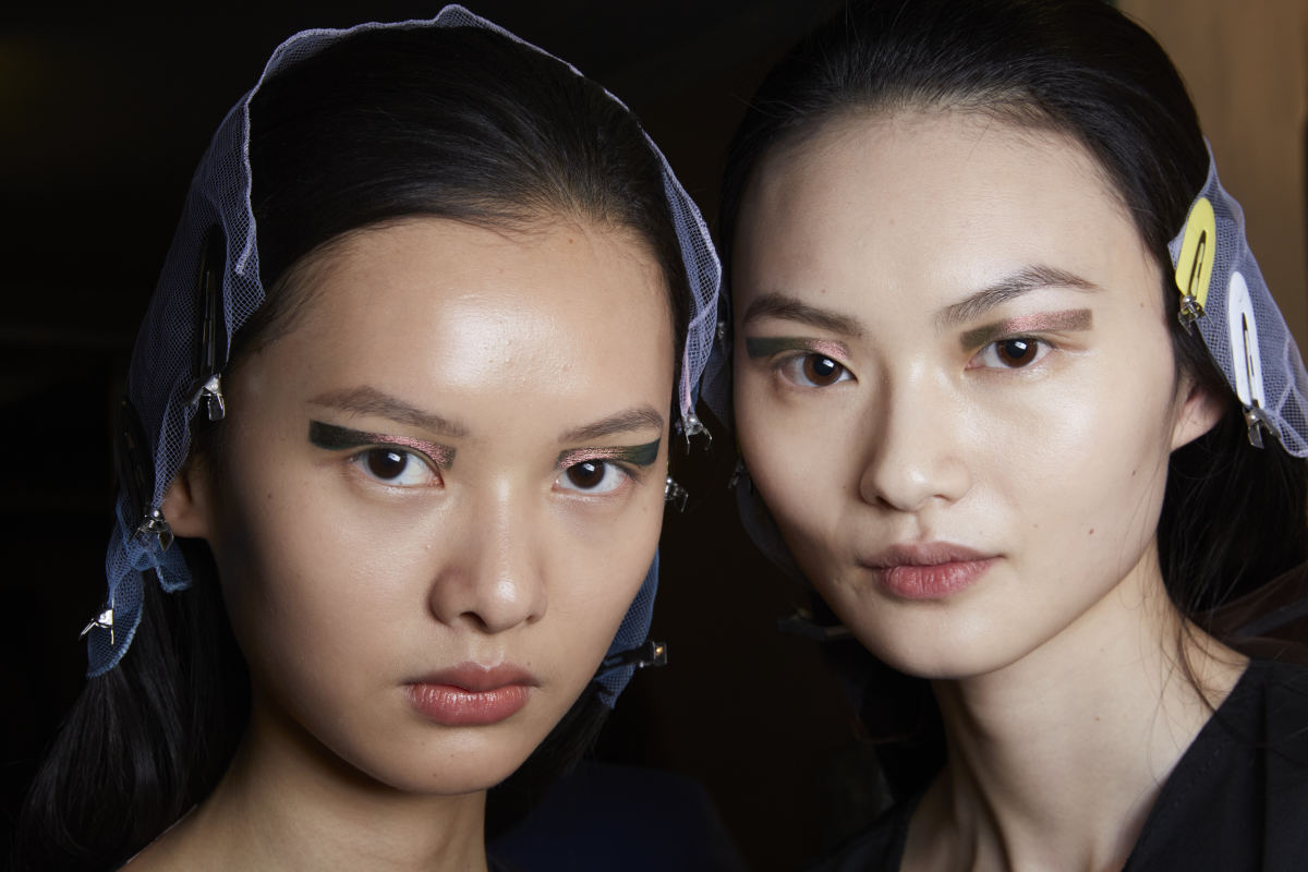 Beauty looks from the Prada Fall 2020 show.